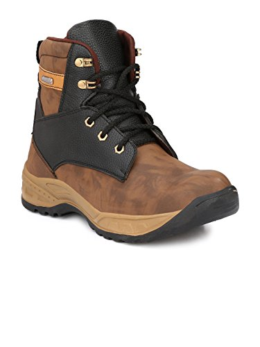 Wave Walk Brown Men's Faux Leather Casual Steel Toe Safety Boots  available at amazon for Rs.999