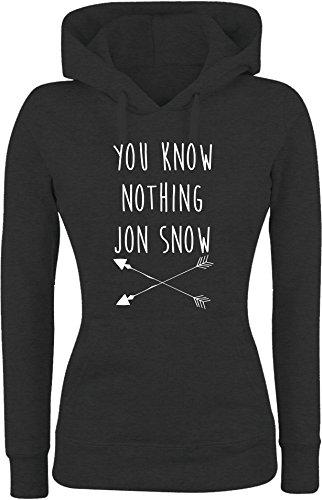 Felpa DONNA Con Cappuccio BASIC top qualità top vestibilità - YOU KNOW NOTHING JON SNOW divertenti humor MADE IN ITALY (S, NERO)
