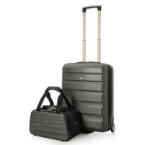 Aerolite Ryanair 55x40x20cm Hartschale Handgepäck Kabine Koffer + 35x20x20cm Maximale Größe Zweite Tasche (Koffer in Kohlegrau + Tasche in Kohlegrau)