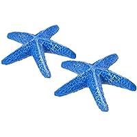 UEETEK 1 piezas estrella de mar estrella de mar de resina artificial de acuario para la decoración del tanque de peces de acuario (azul)