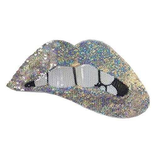 LIOOBO Parches lentejuelas bordados forma labios cosen