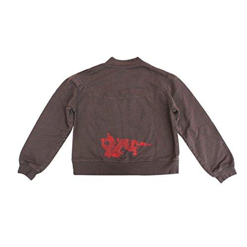 Supima Baumwolle Frenchterry Unisex Freizeit-Jacke für Damen und Herren mit Drachenmotiv von Chakura Meditation Kimono by Ku, XXS - XL Braun (Café)