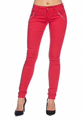 Donna Stretch Jeans Pantaloni a vita bassa (tubo) D1943 MARILYN Rosso