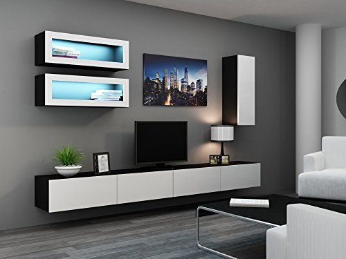 Wohnzimmerschrank Hochglanz inkl. LED Beleuchtung