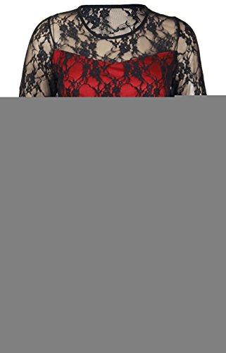 Purple Hanger - Robe Fleurie Dentelle Extensible Manche 3/4 Femme Grande Taille Soirée Noir et rouge