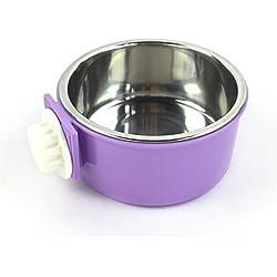 yeah67886creativo 2en 1Acero Inoxidable alimentos agua tazón pequeño para mascotas para colgar jaula (morado)