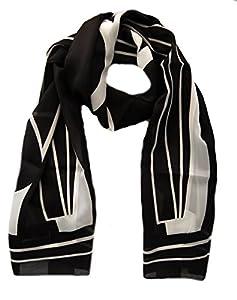 Schwarz - weißes Schaltuch ca. 36x160 cm, Damen Schal Franziska, abstrakt gemustertes Halstuch