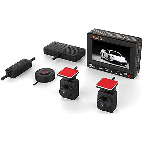 Mini KOONLUNG K1S 1080P coche DVR Dash videocámara 160° de ángulo 2. Pantalla de G-sensor hdr visión nocturna y libre ofrecen una tarjeta de memoria 64gb. Cámara Grabadora de carretera, Dual Cámara. Ambarella a7l70