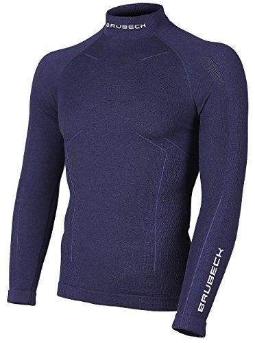 BRUBECK® LS11920 BODYGUARD WOOL Herren Langarm Thermo Merino Shirt (Skiunterwäsche Funktionswäsche Elastisch Anti-allergisch Antibakteriell), Größen:XL;Farbe:Marineblau