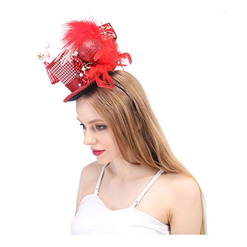 YQXR Moda Sombreros Mini sombrero de copa de Navidad, mini sombrero de copa de Año Nuevo, mini sombrero de fiesta rojo y blanco steampunk sombrero de té de Navidad (Color : Rojo, Size : 25-30CM)