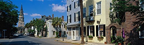 Panoramic Images - Buildings Along a Street with a Church in The Background St. Philip's Church Charleston South Carolina USA Photo Print (91,44 x 30,48 cm)
