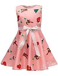 POLP Niña Vestido Navidad Mujer Verano Mini Vestido Casual sin Mangas de  Impresión Vestidos Niña la bd68b8129893