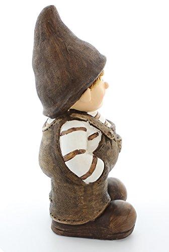 """Frank Flechtwaren, 225494: liebevolle Deko-Figur """"Wichteljunge"""" 41cm groß, aufwändig bemalt in Naturtönen mit Latzhose und Mütze - 2"""