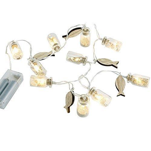 LED Lichterkette maritim mit Gläsern und Fischen 100cm batteriebetrieben