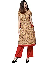 Jaipur Kurti Women Yellow & Red Geometric A-Line Cotton Kurta With Palazzo