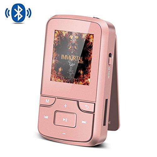 AGPTEK G6 Mp3 Bluetooth 4.0 8Go Ecran en Couleur TFT 1,5 Pouces Lecteur MP3 Sport avec Clip- Or Ros