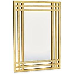 relaxdays u espejo madera de pino espejo de pared para bao para colgar