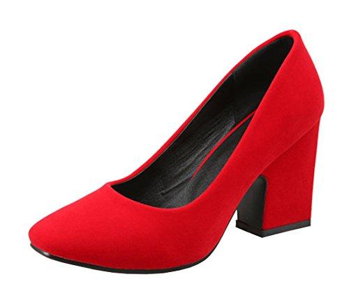 YE Damen Spitze High Heels Pumps mit Bequem Blockabsatz 8cm Absatz Office Kleid Schuhe Rot nubuckleder