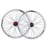 MZPWJD Set di Ruote per Bici Ruota per Bicicletta BMX da 20 Pollici Cerchio in Lega A Doppio Strato Disco V Brake Rilascio Rapido 7 8 9 10 velocità 32H (Color : White, Size : 20in)
