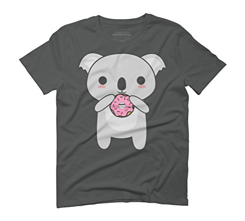 Kawaii Koala Eating A Donut Men's Graphic T-Shirt - Design By Humans Anthracite