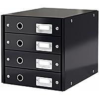 Leitz, Schubladenbox, Schwarz, 4 Schubladen, A4, Click & Store, 60490095