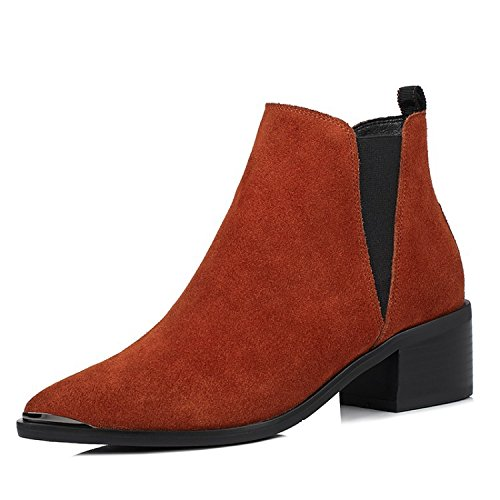 AVBGT Leather Boots Comfortable Simple Wild Low Female Medium Sharp European American Martin Boots Shoes