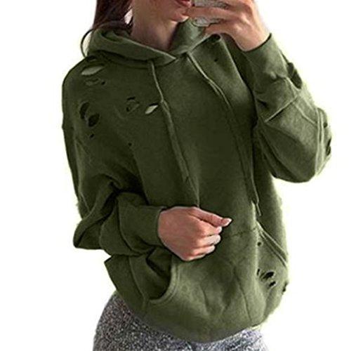 WOCACHI Damen Frauen lösen beiläufige Löcher Langarm Sweatshirt Pullover Tops Shirt Mantel (S, Grün)