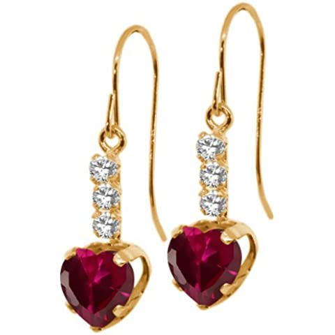 2.10ct pendientes de oro amarillo de 14K en forma de corazón rojo rubí cadena de 18