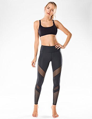 CRZ YOGA Donna Reggiseno Sportivo Yoga Imbottite Rimovibili Multi Strap Nero