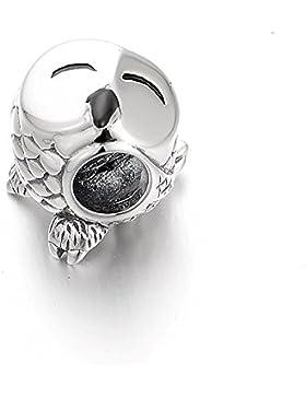 De'Lageo 925 Sterling Silber Bayby Eule 2 Charme Perle