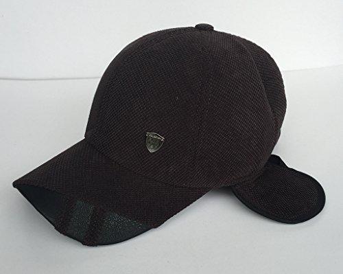 Bigood Homme Casquette Protection Oreille Bonnet Chapeau Casquette Uni Pour Hiver Outdoor Marron