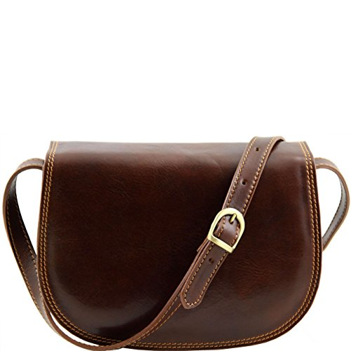 Tuscany Leather Isabella - Sac bandoulière en cuir Marron foncé Sacs à bandoulière en cuir Marron