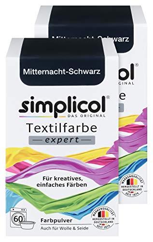 Simplicol Textilfarbe expert Mitternacht-Schwarz 1718, 2er Pack: Farbe für kreatives, einfaches Färben in der Waschmaschine oder manuell