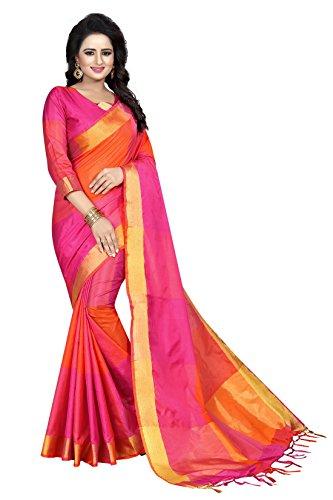 J B Fashion Women's Cotton Silk Saree With Blouse Piece (Red ,...