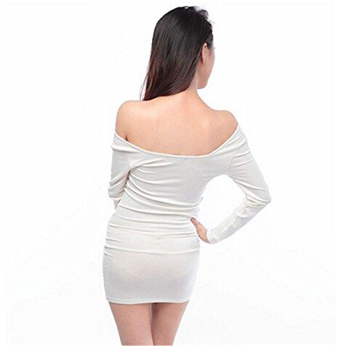 Frauen reizvolle lange Sleev V Ausschnitt BodyCon duennes Nachtclub Cocktail Bodycon Minikleid Weiß