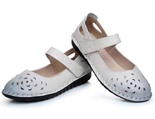 HWF Scarpe donna Estate madre piatto nonna di mezza età scarpe basse fondo morbido vecchi sandali donne scarpe cool femminile ( Colore : Bianca , dimensioni : 38 ) Bianca