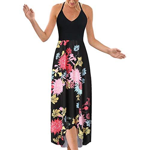 Damen Neckholder Kleid Mit Bedruckt Sexy Ärmelloses Sommerkleider Maxikleide Sleeveless Kleider Backless Swing Strandkleid Halter Mid Dress Spagettiträgern Cocktailkleid ()