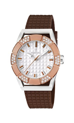 Festina Ladies Analogue Watch F16563/2 with Rubber Strap and White Dial