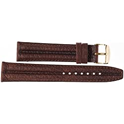Kaiser Watches Leather Band Watch Strap Dark Brown Leather Watch Strap 18mm Clasp: Yellow 18mm