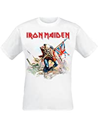 Iron Maiden Trooper On White Camiseta Blanco