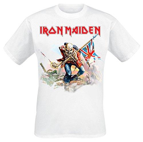 Iron Maiden Trooper On White Camiseta Blanco M