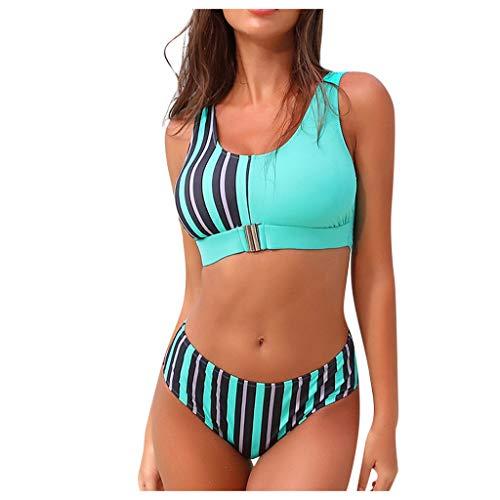 Warmword BañAdores De Mujer Rayas Estampado de Leopardo Costuras Bikinis El Verano Mujer Push up Sujetador...