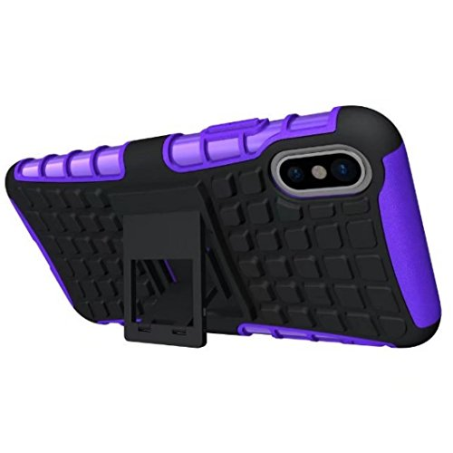 iPhone X Cover, Awesome Armor Foldable Movie Stand Slim Tire Pattern Custodia, TAITOU New Ultra Hybrid 2 In 1 Thin Anti Scratch Drop Outdoor Sport Protect Phone Cover For Apple iPhone X Purple BPurple