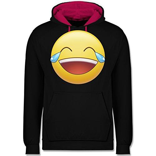 Statement Shirts - Tränen Lachen Emoji - Kontrast Hoodie Schwarz/Fuchsia