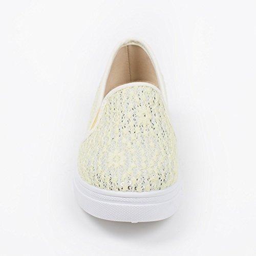 Ideal Shoes–Slip-on ricoperto di lustrini e pizzo Reanne Giallo