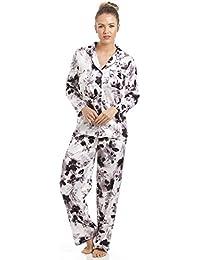 Camille - Pyjama pour femme - satin - imprimé floral noir - gris