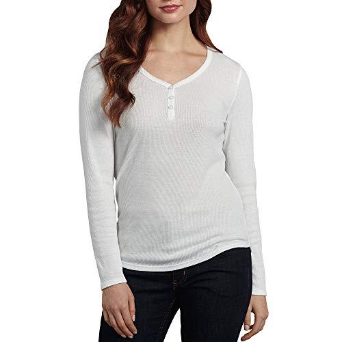 dickies Damen Long-Sleeve 3-Button Henley Shirt, Deckweiß, XX-Large -