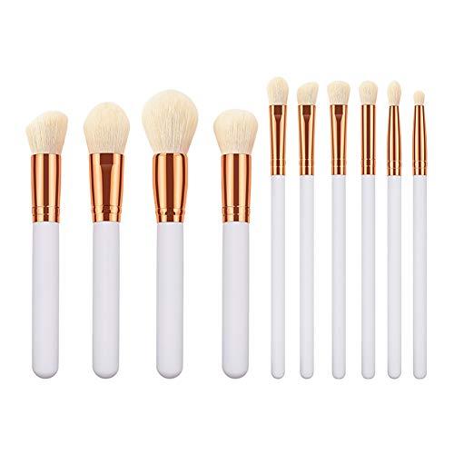 Hosaire® 10pcs Professional Maquillage Set De Brosse Pinceau De Maquillage Style Simple Brosse à Cils Mode Maquillage Kit De Paupières Set De Brosse -Blanc