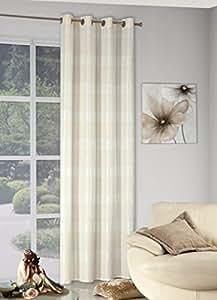 140x245 cm creme ecru Elfenbein sandfarbig Vanille Vorhang Vorhänge Fensterdekoration Gardine Ösenschal cream sand vanilla ANDREA