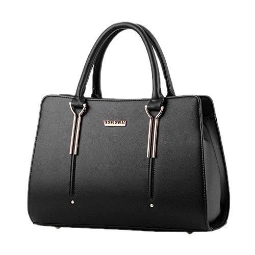 DELEY Damen Strukturiert Office Totes Handtasche Schultertasche Handtasche Schwarz